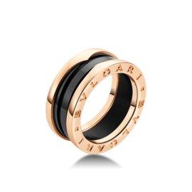 Bulgari B. Zero 1 18K Rose Gold & Black Ceramic Band Ring Size: 6