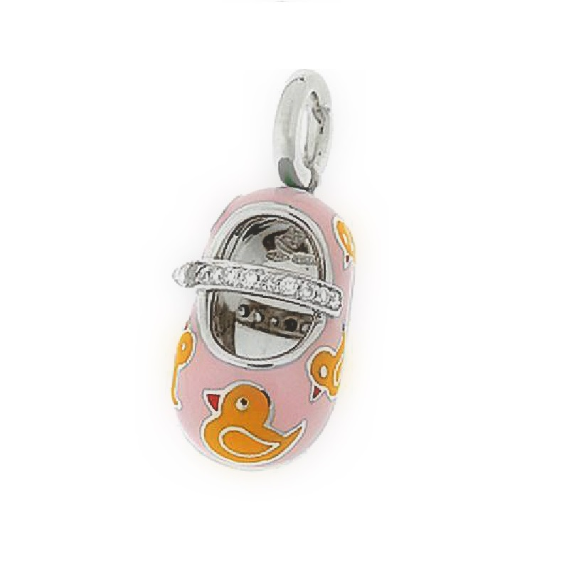 """""18 Karat White Gold, Pink Enamel Shoe Charm with Yellow Ducks and"""""" 1824884"