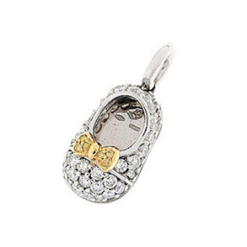 """""18 Karat White Gold Pave Diamond Shoe Charm With Yellow Gold Pave"""""" 1824885"