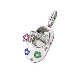 18 Karat White Gold and White Enamel Shoe with Ruby, Sapphire and Emerald Flower