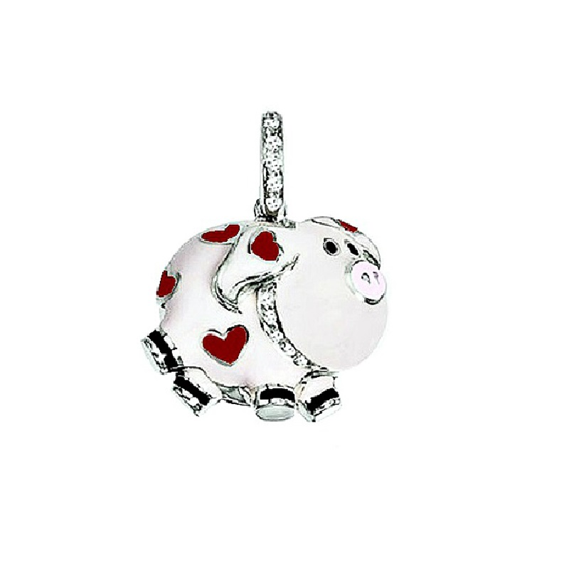"""Image of """"18 Karat White Gold, White Enamel Pig Charm with Red Hearts"""""""