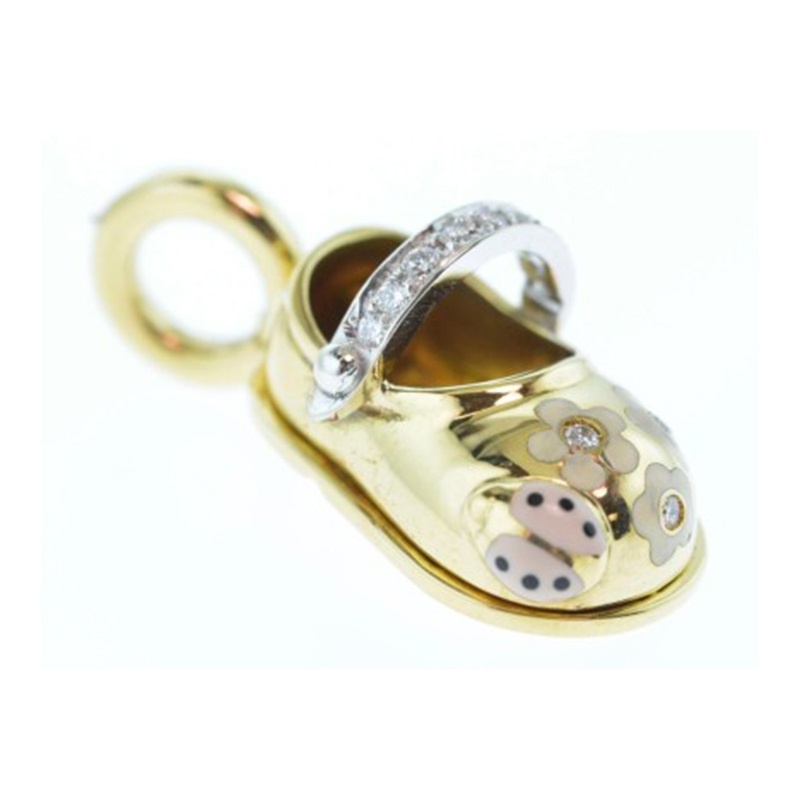 """""18 Karat Yellow Gold Shoe Charm with Enamel Spring Design and Diamond"""""" 1824890"