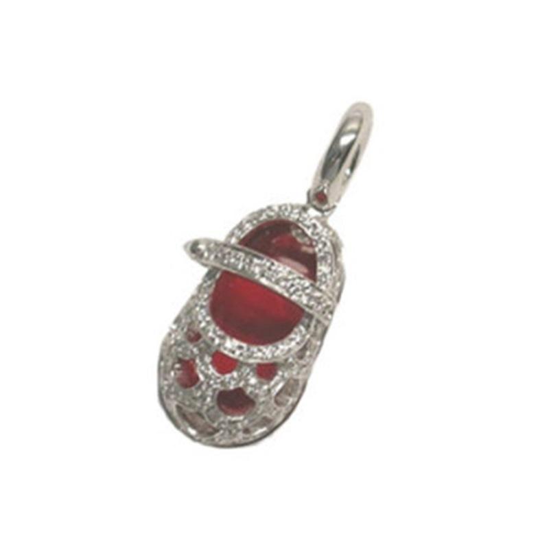 "Image of ""18 Karat White Gold, Diamond Lattice Shoe Charm with Red Enamel Inside"""