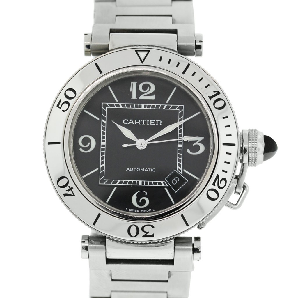 """Image of """"Cartier Pasha Black Dial Stainless Steel Watch"""""""