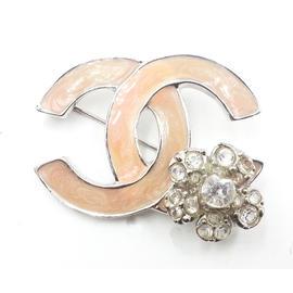 Chanel Silver Tone Pink Enamel CC Crystal Flower Brooch
