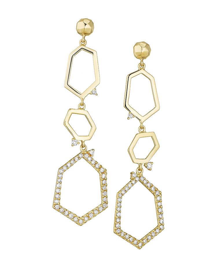 "Image of ""18K Gold Jackson Large Three Drop Earrings"""