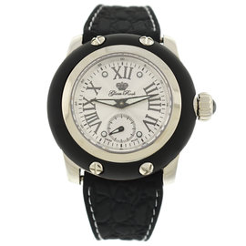 Glam Rock Miami 36mm Silver Dial Black Silicone Unisex Watch