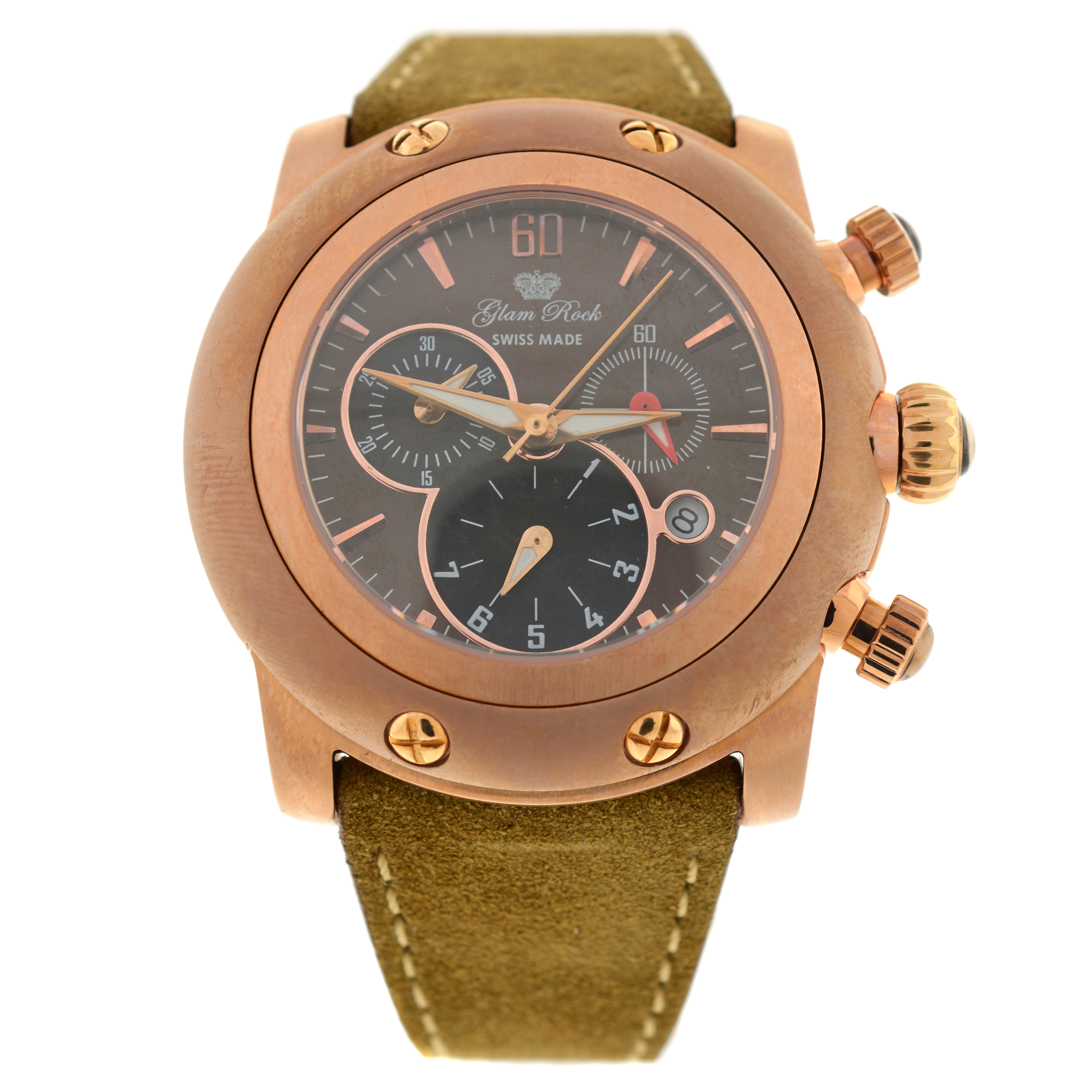 """Image of """"New Glam Rock Tan Miami 46mm Leather Chronograph Watch"""""""