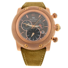 New Glam Rock Tan Miami 46mm Leather Chronograph Watch