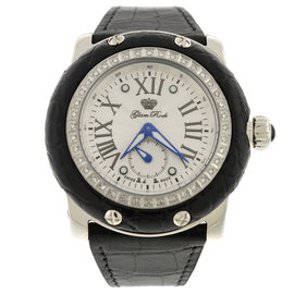 Glam Rock 46mm Black Alligator Leather Miami Diamond Watch
