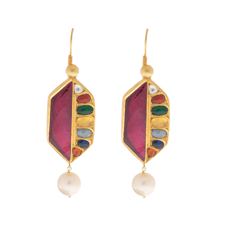 """Image of """"18/22k yellow gold Gold Stone Earrings"""""""