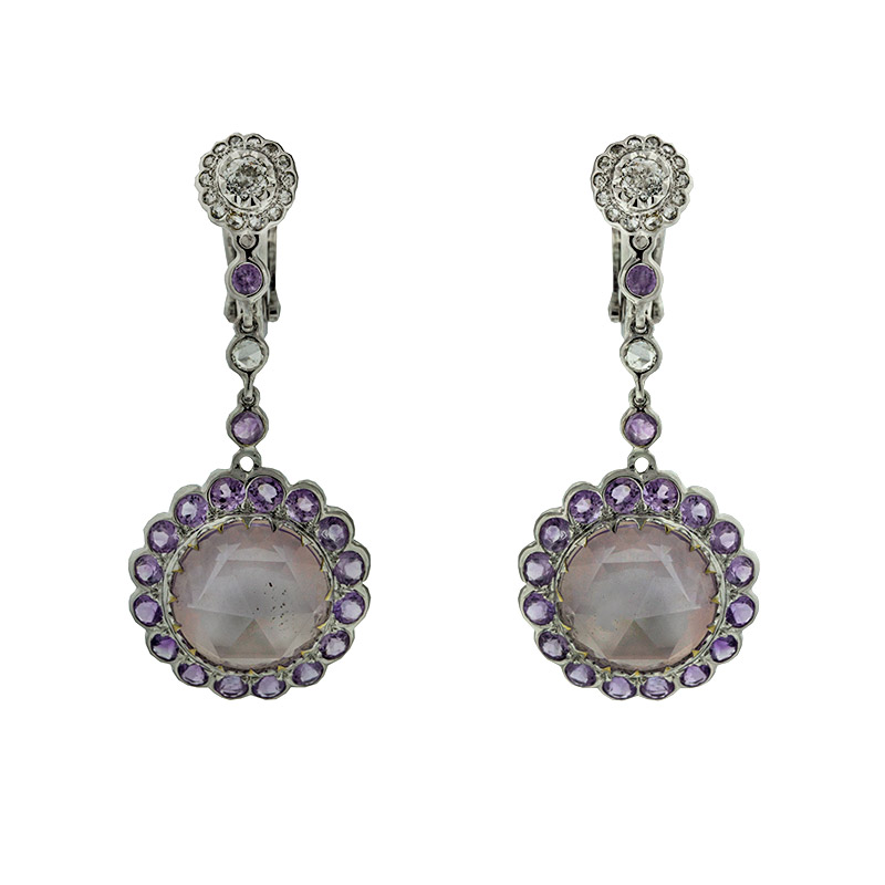 "Image of ""Laura Munder 18k White Gold Contemporary Diamond and Amethyst Dangle"""