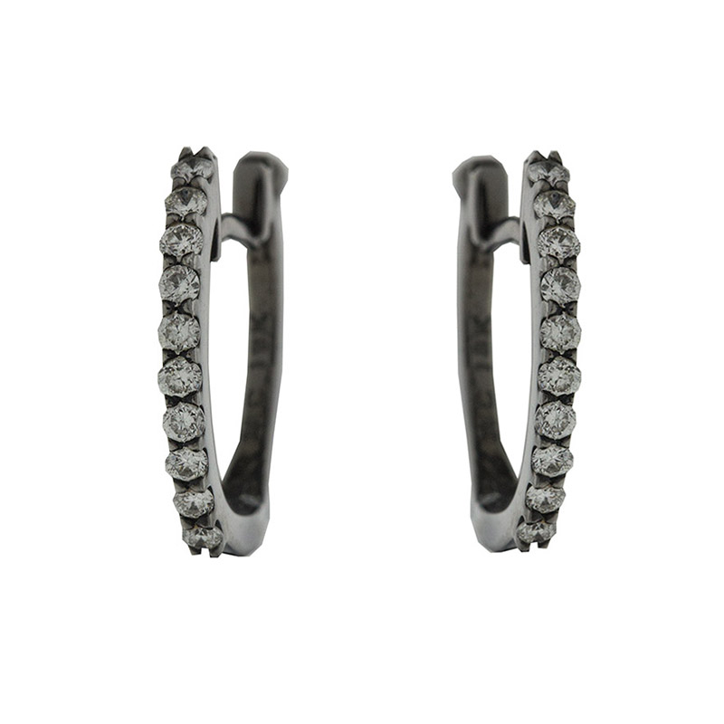 "Image of ""Roberto Coin 18k Black Gold Diamond Hoop Earrings"""