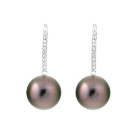 Tara 18k White Gold With 11x12mm Natural Color Tahitian Cultured Pearl and 0.10ct Diamond Shepherd Hook Earrings