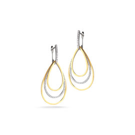 White Gold Matte-finish Tear-drop Shaped Dangling Movable Earrings