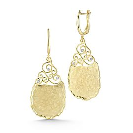 14 Karat Yellow Gold Matte and Hammer-finish Tear-drop Filigree Earrings