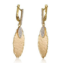 14 Karat Yellow Gold Matte and Hammer-finish Gallery Leaf Earrings