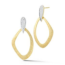 14 Karat Yellow Gold Matte and Hammer-finish Open-form Dangling Earrings