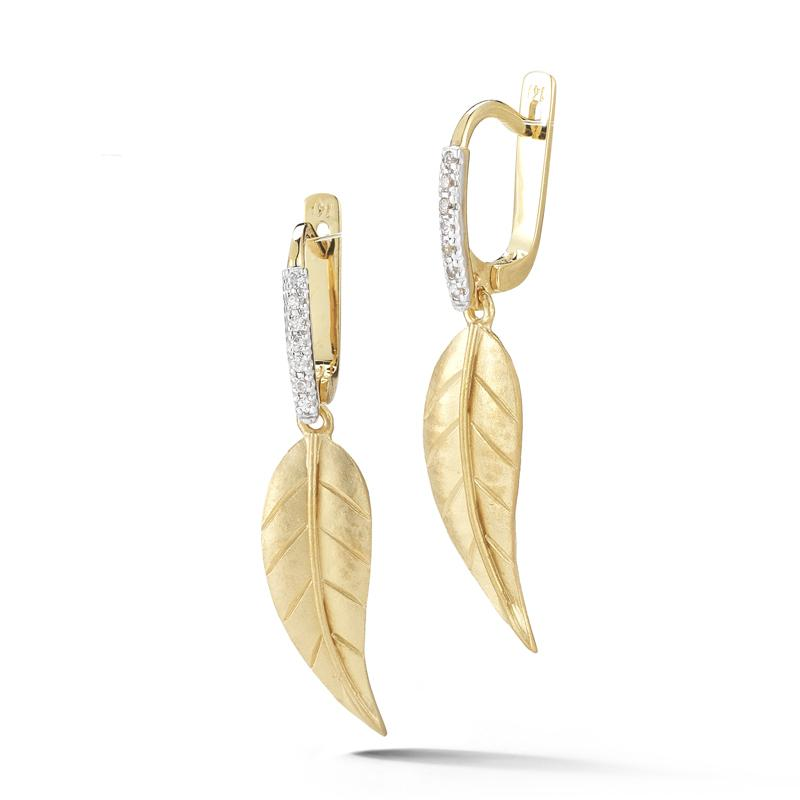 "Image of ""14 Karat Yellow Gold Matte-finish Small Leaf Earrings"""