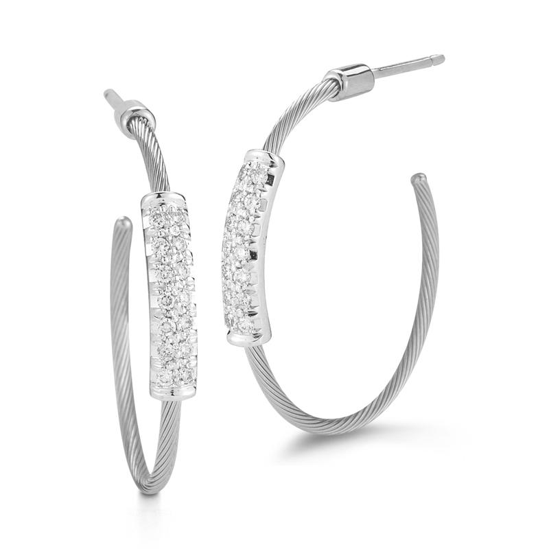 "Image of ""14 Karat White Gold 20mm Super-flex Wire Hoop Earrings"""