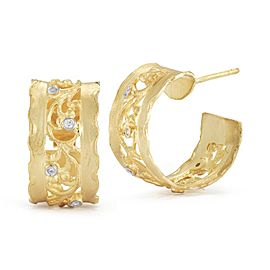14 Karat Yellow Gold Matte-finish Filigree Hoop Earrings