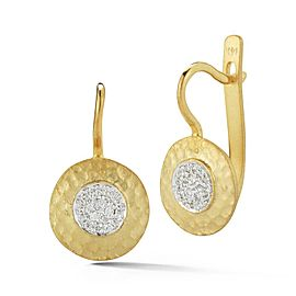 14 Karat Yellow Gold Matte and Hammer-finished Earrings