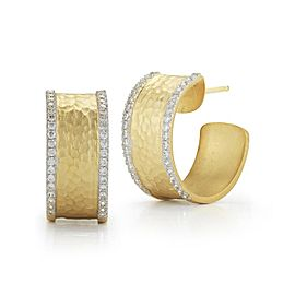 14 Karat Yellow Gold Matte and Hammer-finished Hoop Earrings