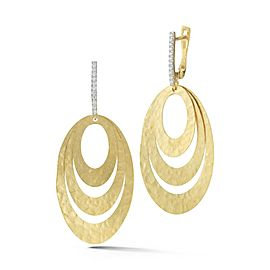 14 Karat Yellow Gold Matte and Hammer-finished Concentric Oval-shaped Earrings
