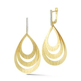 14 Karat Yellow Gold Matte and Hammer-finished Concentric Tear-shaped Earrings