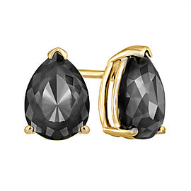 14K Yellow Gold Luv Eclipse 2ct Patented Cut Treated Black Diamond Earrings