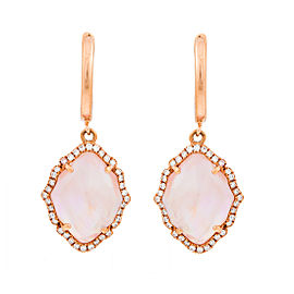 18k Pg Small Marquis Smooth Top Pink Mop Crystal, Polished Clip and Diamond Around Earrings