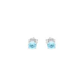 14k White Gold Aquamarine March Birthstone Earrings