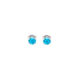 14k White Gold Blue Topaz December Birthstone Earrings