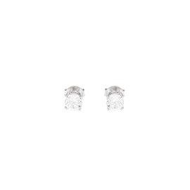 14k White Gold White Topaz April Birthstone Earrings