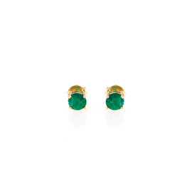 14k Yellow Gold Emerald May Birthstone Earrings