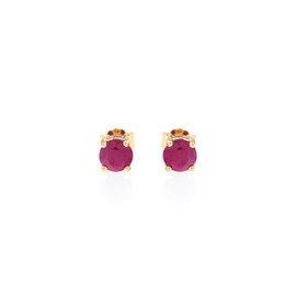 14k Yellow Gold Ruby July Birthstone Earrings