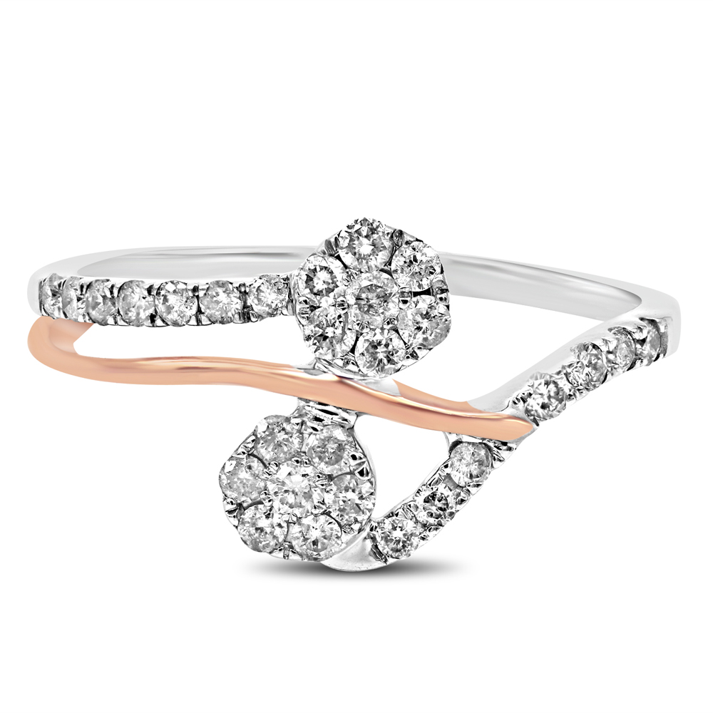 "Image of ""10K White and Rose Gold 0.46ct Diamond Luv Eclipse Ring Sz 7"""