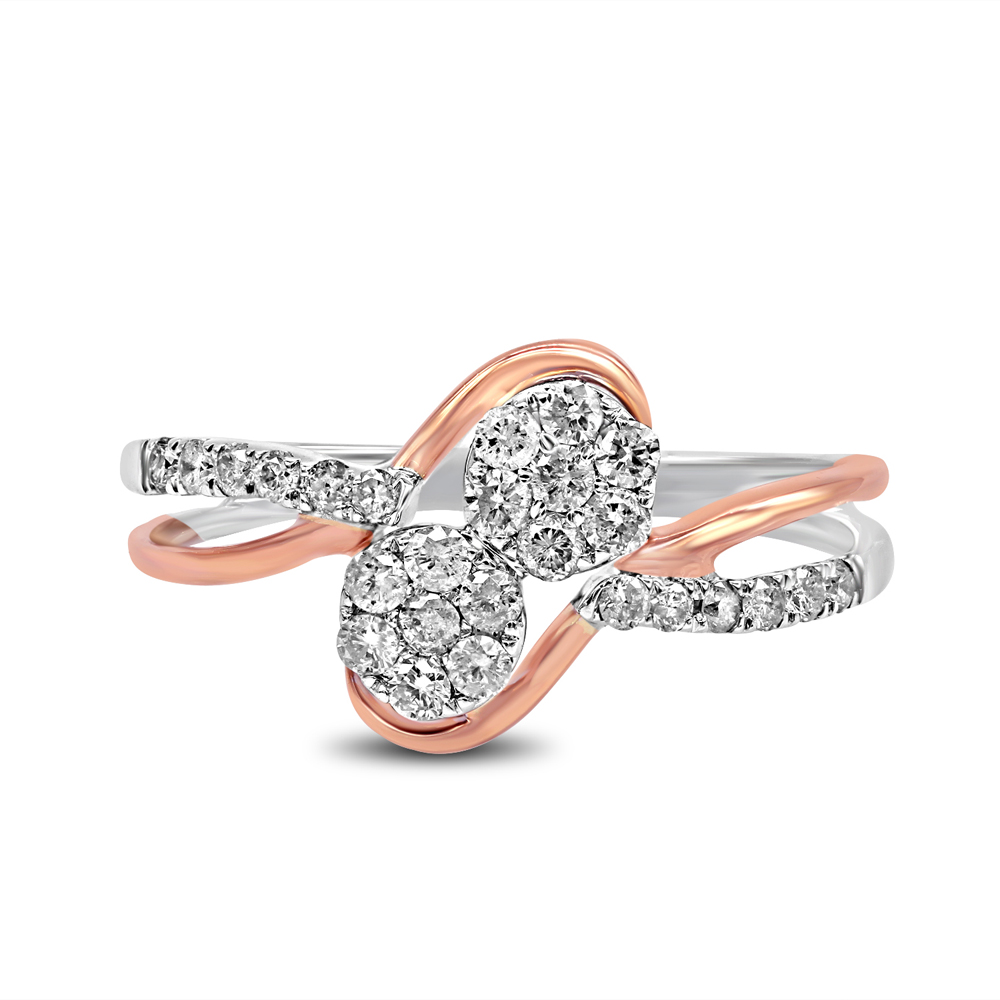 "Image of ""10K White and Rose Gold 1.33ct Diamond Luv Eclipse Ring Sz 7"""
