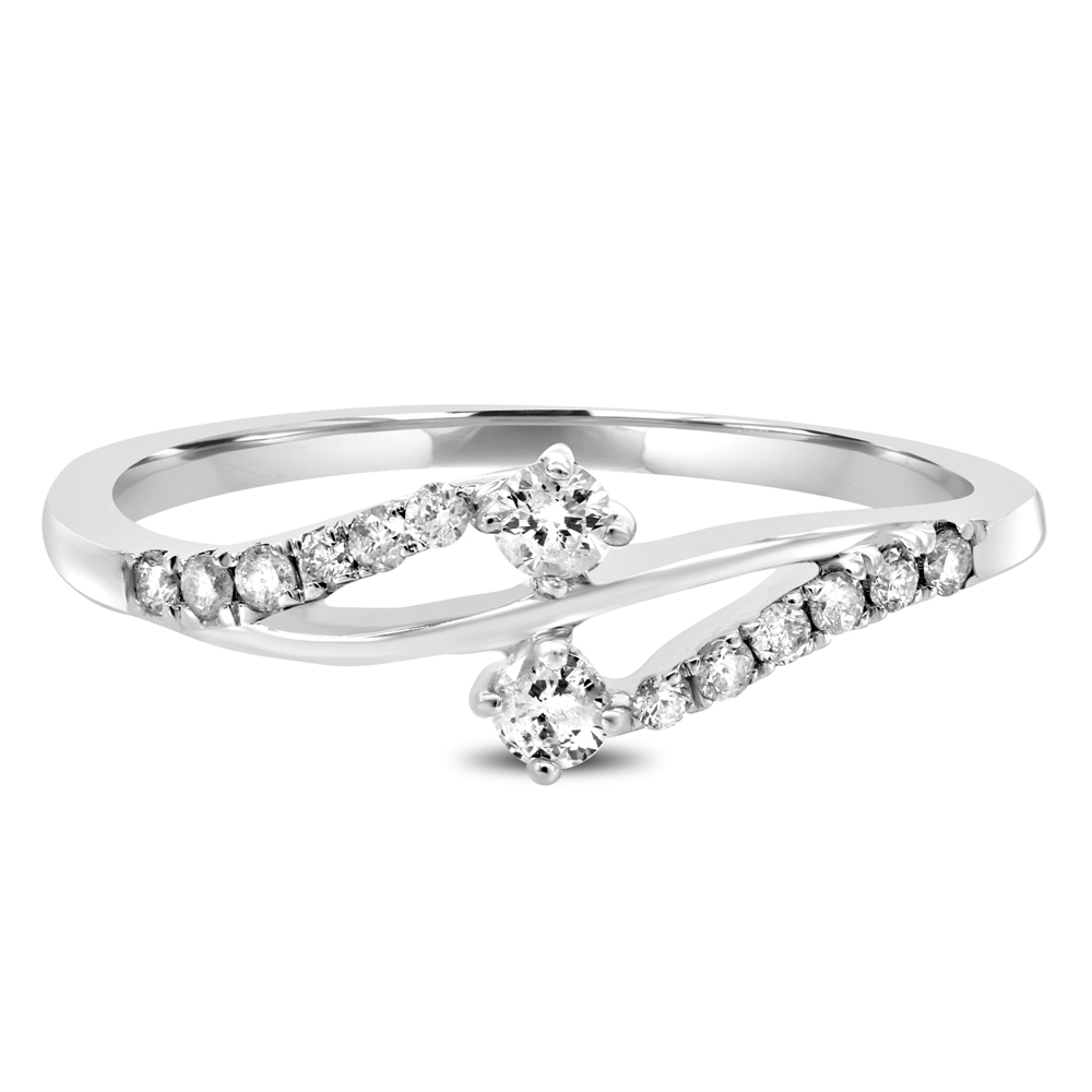 "Image of ""10K White Gold & 0.247ct Diamond Luv Eclipse Ring Sz 7"""