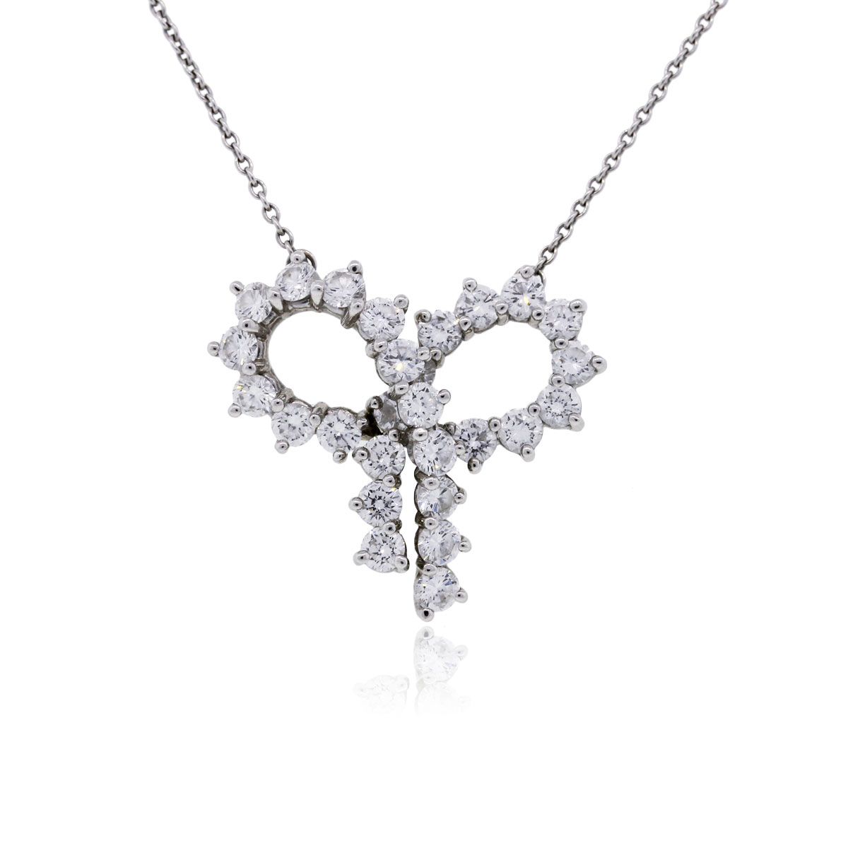 "Image of ""Tiffany & Co. Platinum Diamond Large Bow Pendant Necklace"""