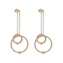 14k Rose Gold Diamond Dangle Double Hoop Earrings