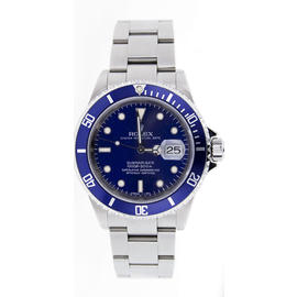 Rolex Submariner Date 16610 Stainless Steel No Holes Case Model With Custom Added Blue Dial And Blue Insert Watch