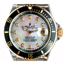 Rolex Submariner 16613 Stainless Steel & 18K Yellow Gold Custom Added Mother of Pearl Diamond Marker Face- 90's Watch
