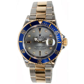 Rolex Submariner 16613 Stainless Steel and 18K Yellow Gold Slate Serti Sapphire & Diamond Dial Mint Condition Watch