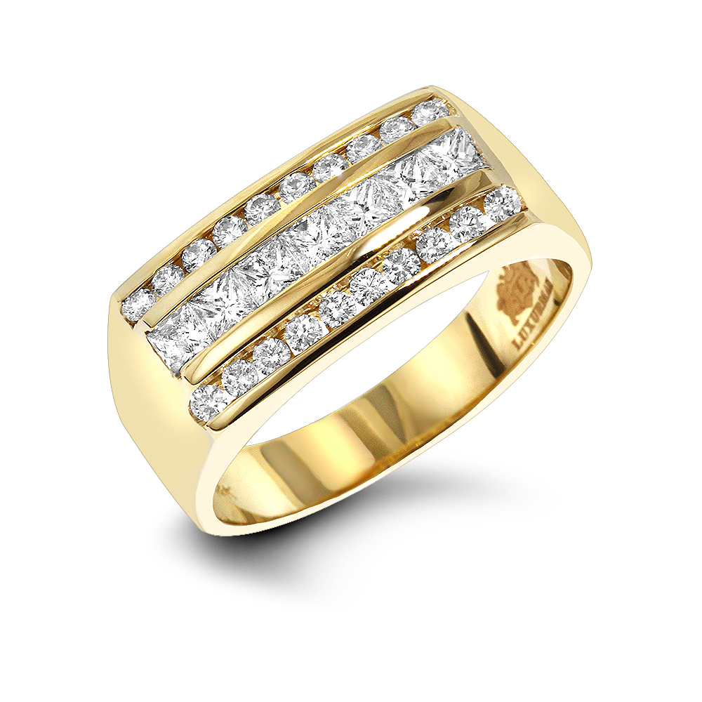 "Image of ""Mens Round & Princess Cut Diamond Ring 1.3ct 14k Gold Unique Wedding"""