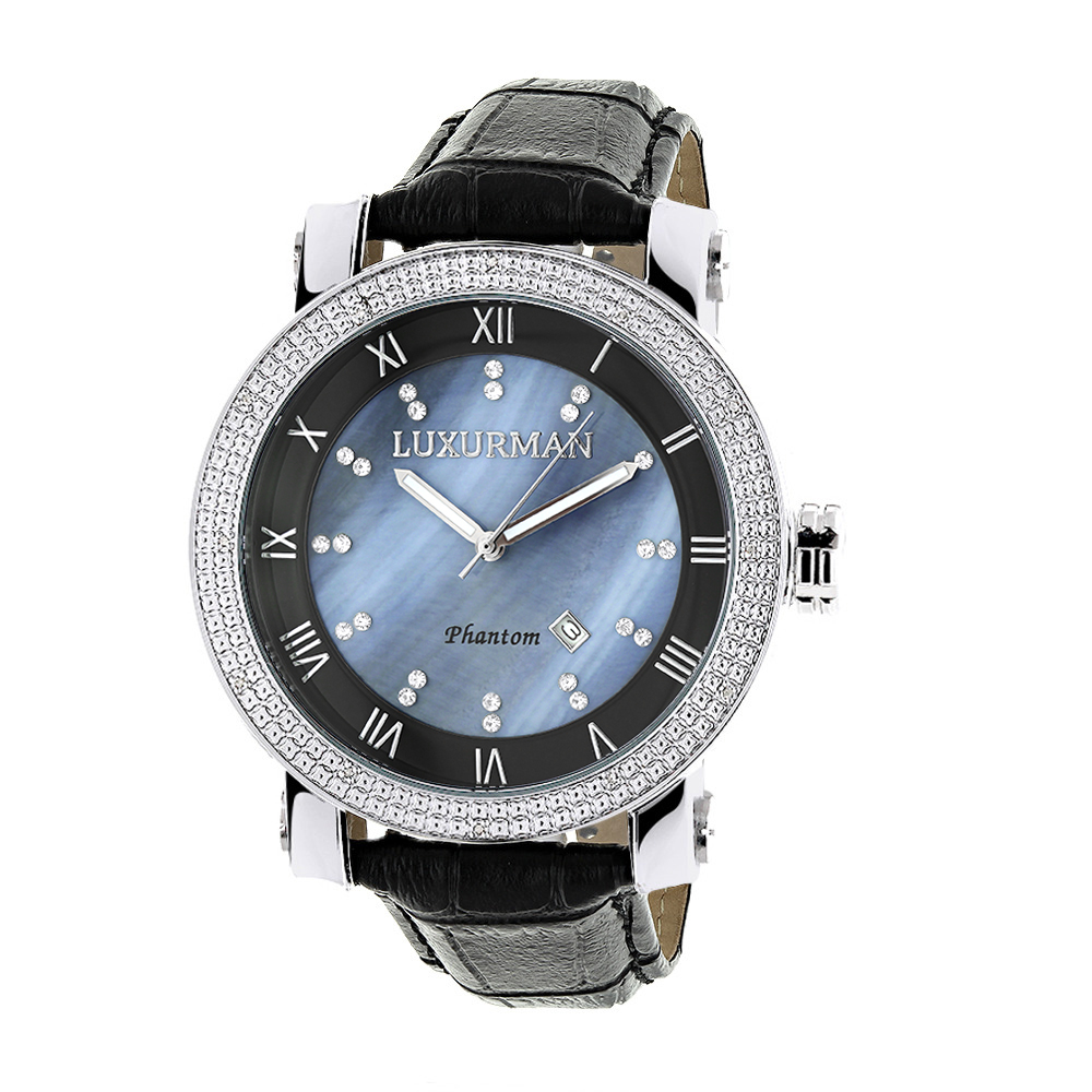 "Image of ""Luxurman Phantom 2137 Stainless-Steel Quartz .18ct Diamond Blue Dial"""
