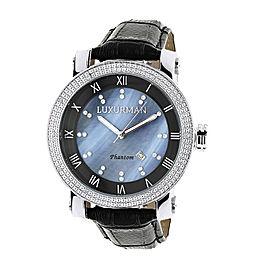 Luxurman Phantom 2137 Stainless-Steel Quartz .18ct Diamond Blue Dial Mother Of Pearl Mens Watch