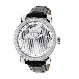 Luxurman Phantom 2140 Stainless-Steel Quartz .18ct Diamond Silver Dial World Map Mens Watch