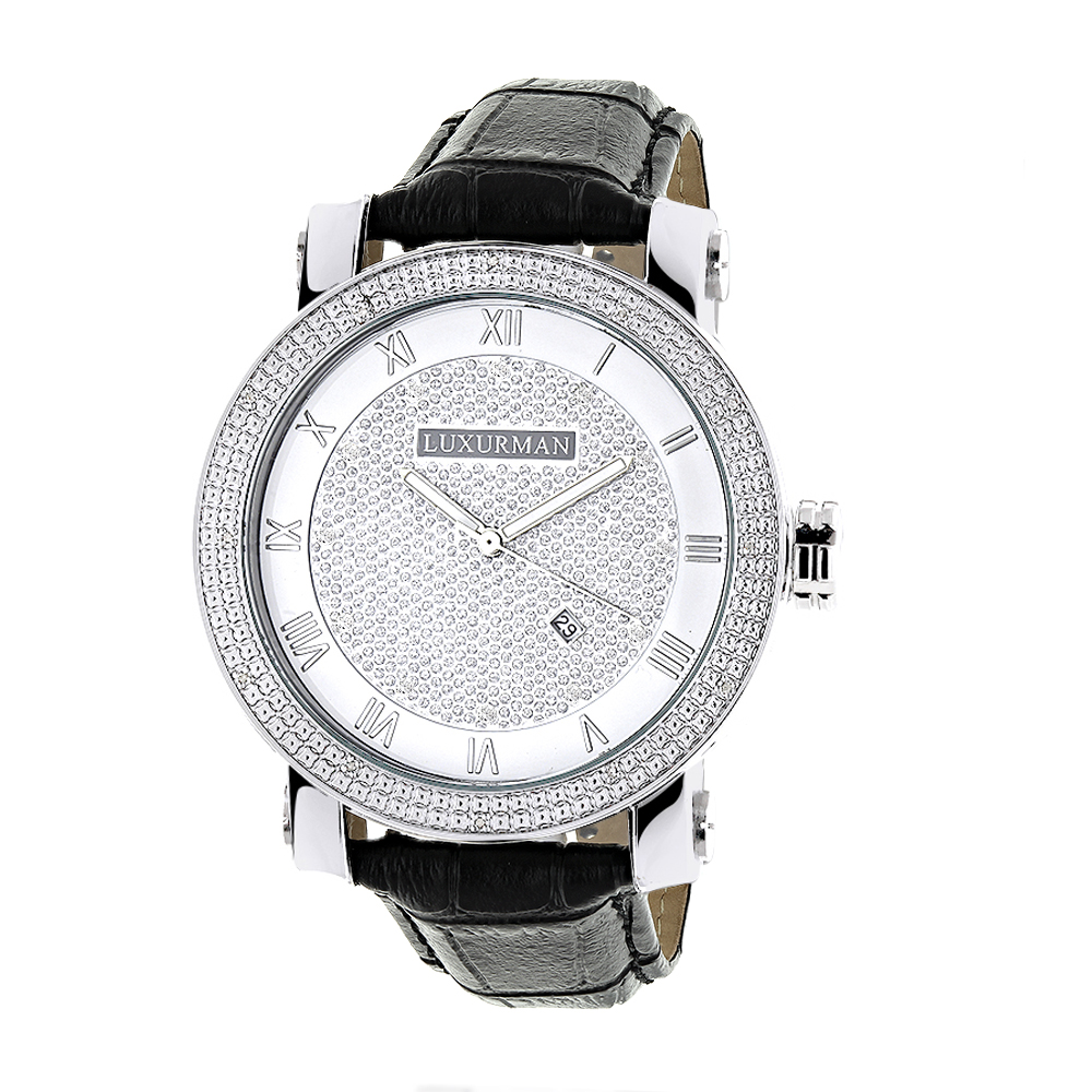 "Image of ""Luxurman Phantom 2135 Stainless-Steel Quartz .18ct Diamond Silver Dial"""