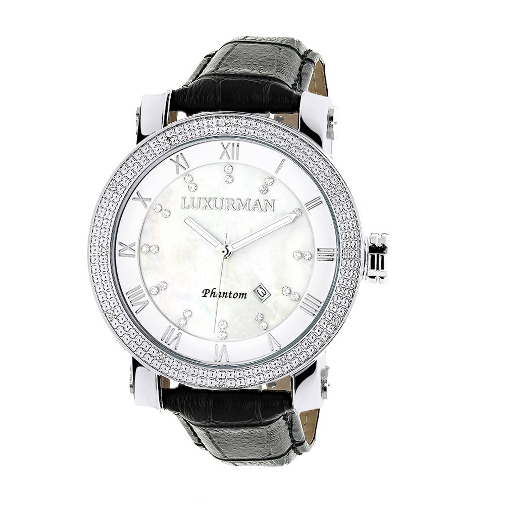 "Image of ""Luxurman Phantom 2142 Stainless-Steel Quartz .18ct Diamond White"""